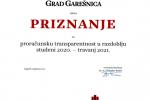 Priznanje za proračunsku transparentnost u razdoblju studeni 2020. travanj 2021.